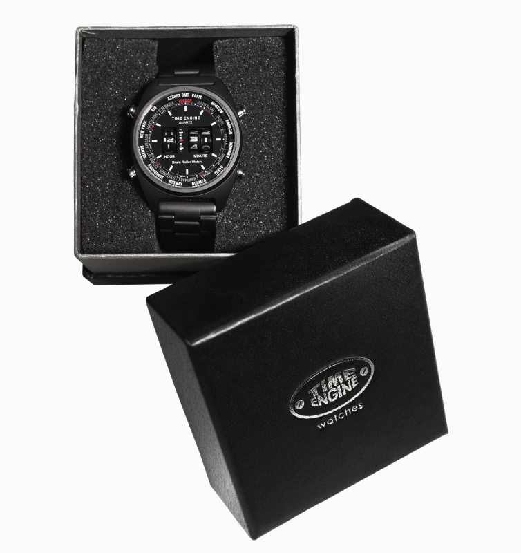 3904-01 Time Engine 啡色皮帶滾筒手錶