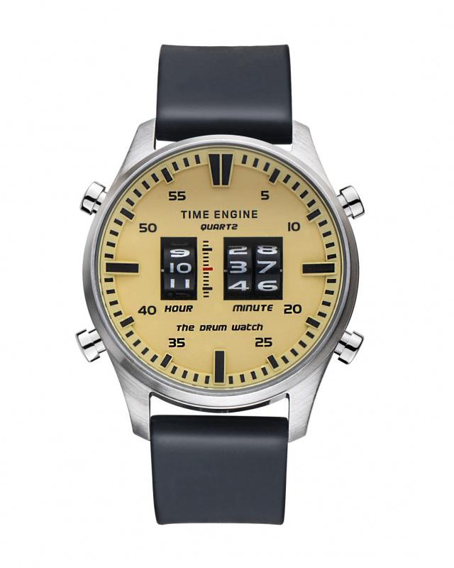 3903-02 Time Engine 黑色膠帶滾筒手錶