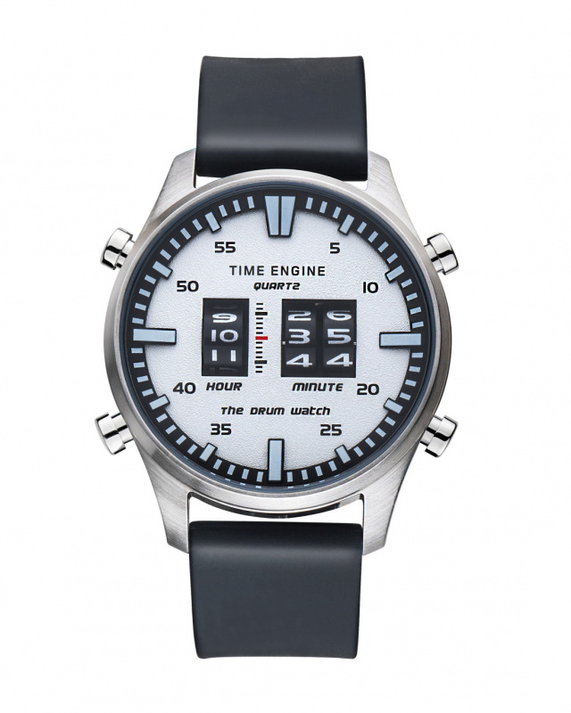 3903-03 Time Engine 黑色膠帶滾筒手錶