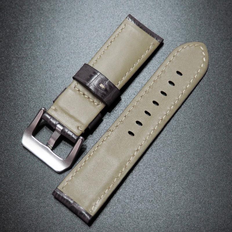 24mm Panerai 灰色意大利鱷魚紋牛皮錶帶