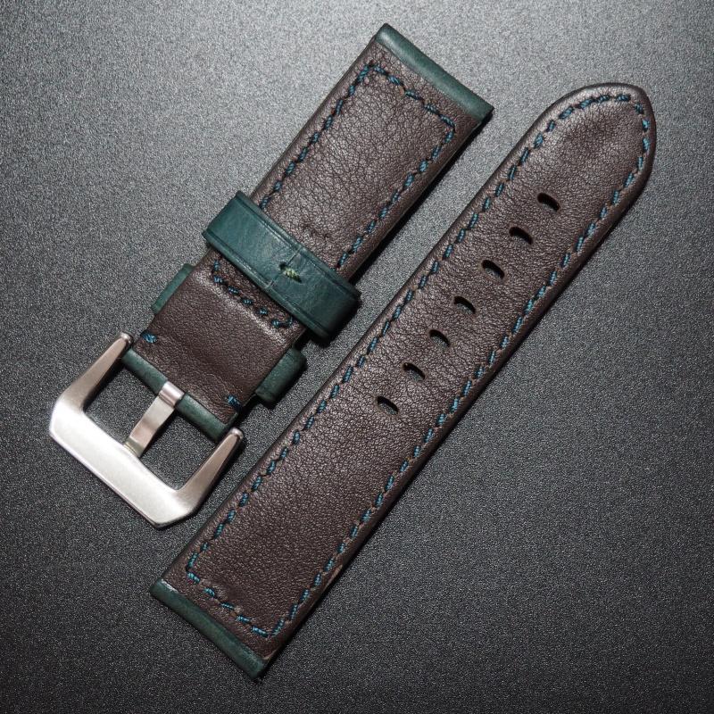 24mm Panerai 綠色意大利牛皮錶帶