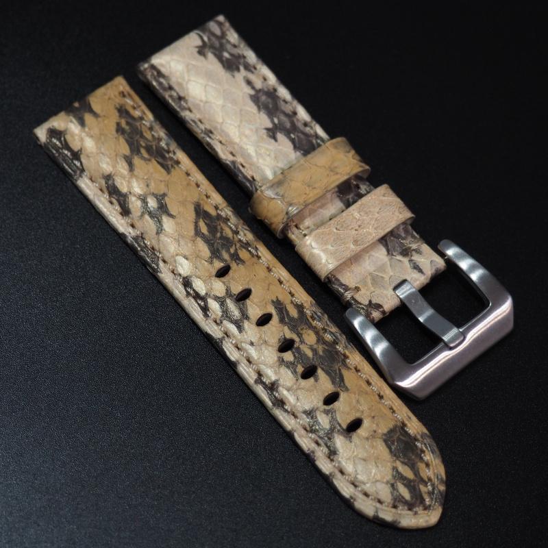 24mm Panerai 芥末黃色蛇皮錶帶