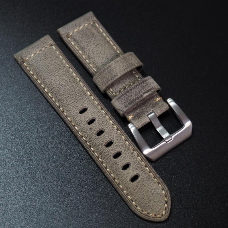24mm Panerai 灰色意大利牛皮錶帶