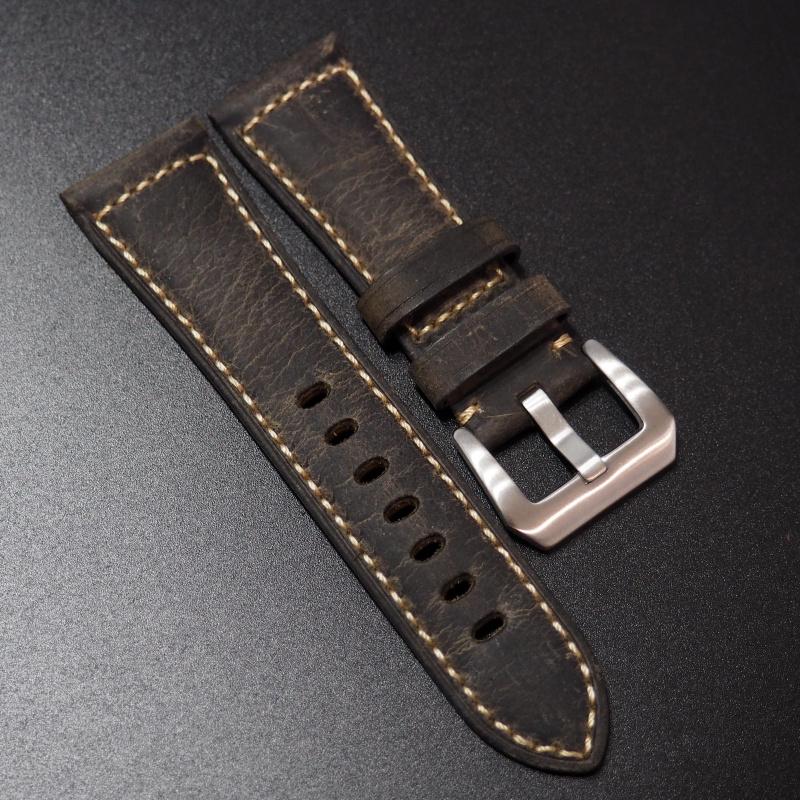 26mm Panerai 暗棕色高級牛皮錶帶