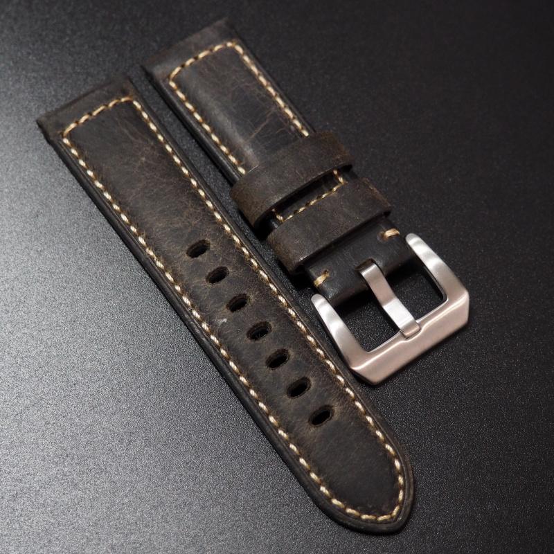 24mm Panerai 暗棕色高級牛皮錶帶