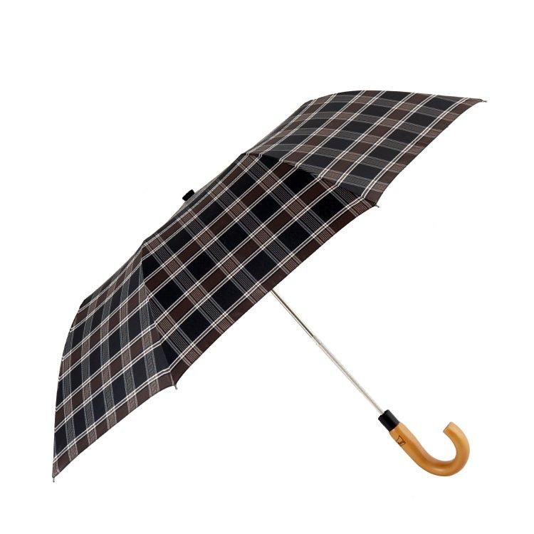 boy 兩折楓木彎柄紳士傘 (淺棕方格)