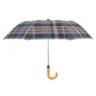 boy 兩折楓木彎柄紳士傘 (棕藍方格)