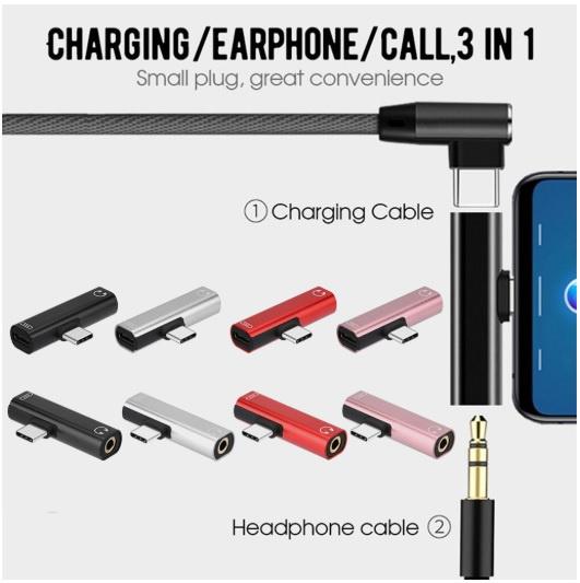 AOE Type-c耳機轉接頭適用小米華為手機充電聽歌二合一音頻3.5mm轉換器