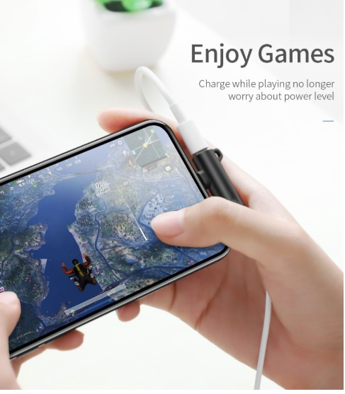 Lightning轉接頭適用於蘋果Apple iPhone 11/Pro/Pro Max耳機音頻轉接頭帶扣充電聽歌二合一轉3.5mm孔