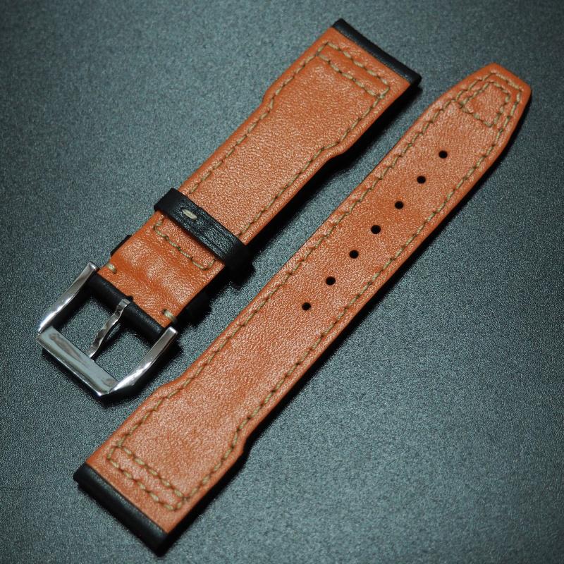 21mm IWC 黑色高級牛皮錶帶