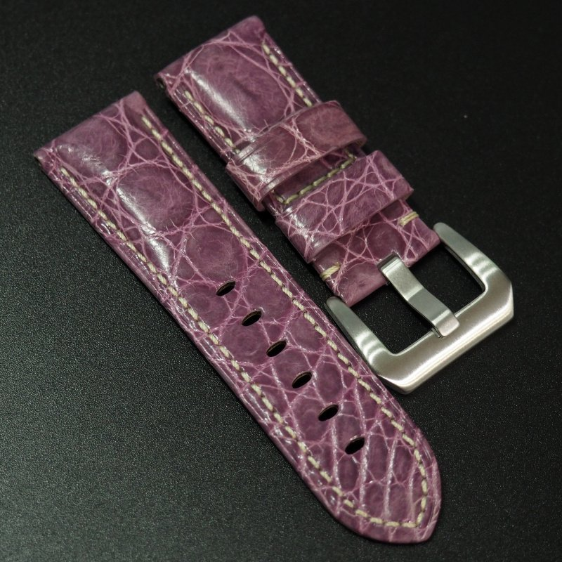 24mm Panerai 丁香紫色鱷魚皮錶帶 (女裝短帶)