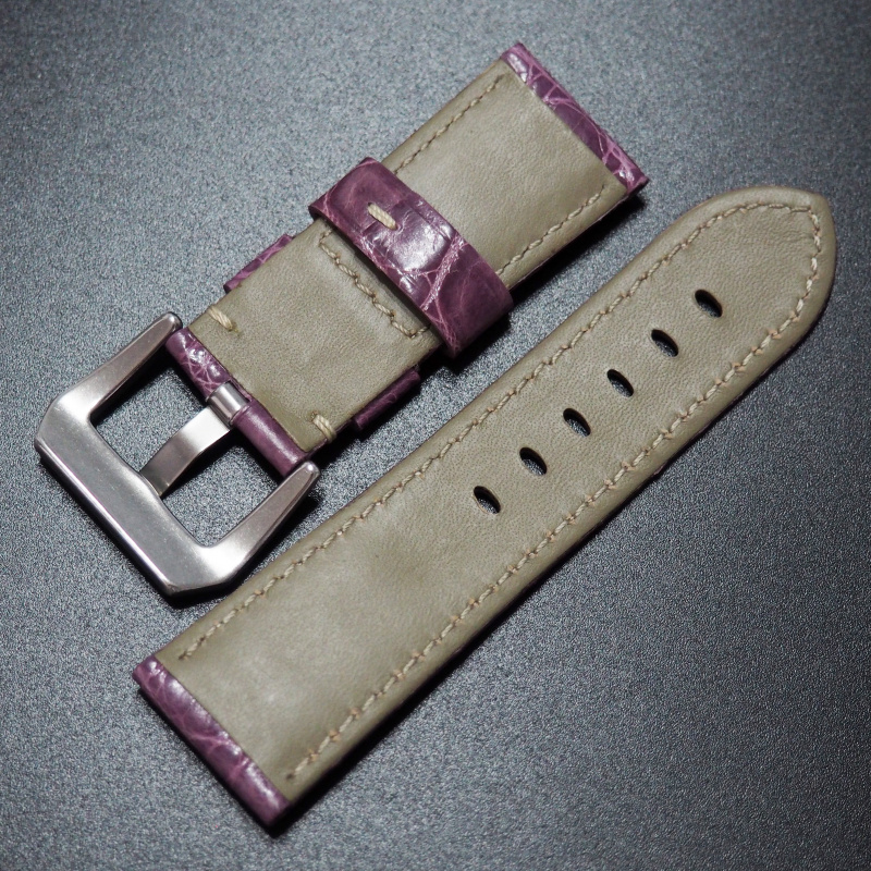 24mm Panerai 丁香紫色鱷魚皮錶帶 (女裝)