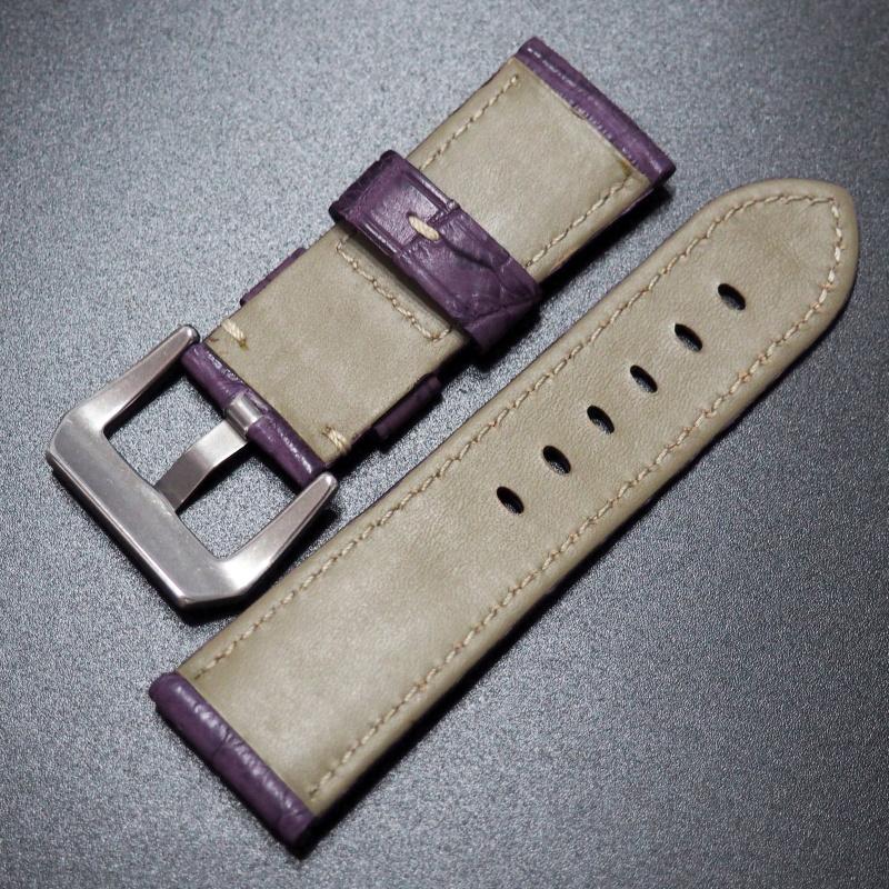 24mm Panerai 淺紫色鱷魚皮錶帶 (女裝)
