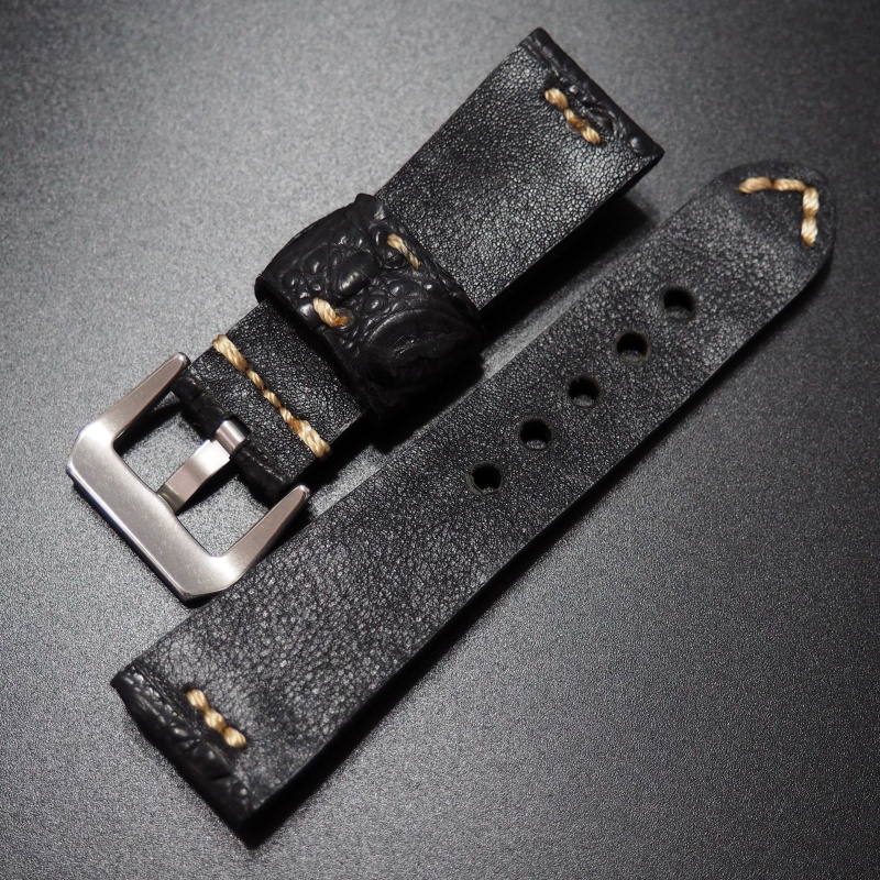 26mm 復古黑色鱷魚皮背骨錶帶
