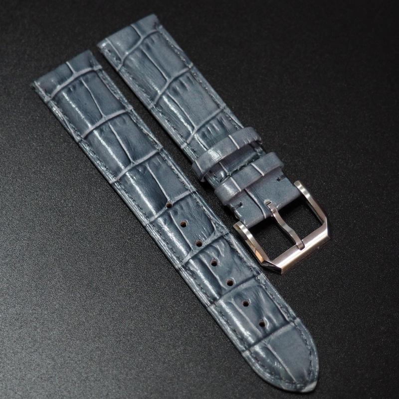 20mm 土耳其藍色鱷魚紋牛皮錶帶