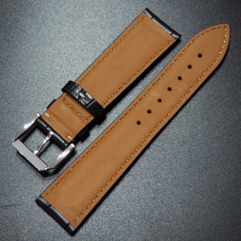 21mm IWC 浪琴黑色鱷魚紋牛皮錶帶