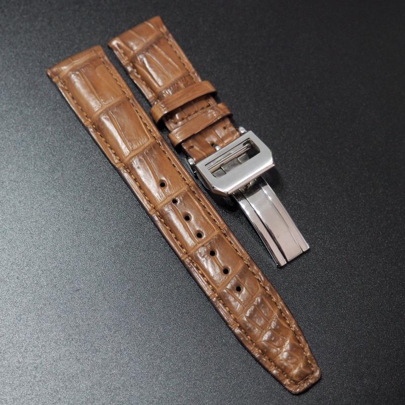 21mm IWC 土黃橙色鱷魚皮錶帶