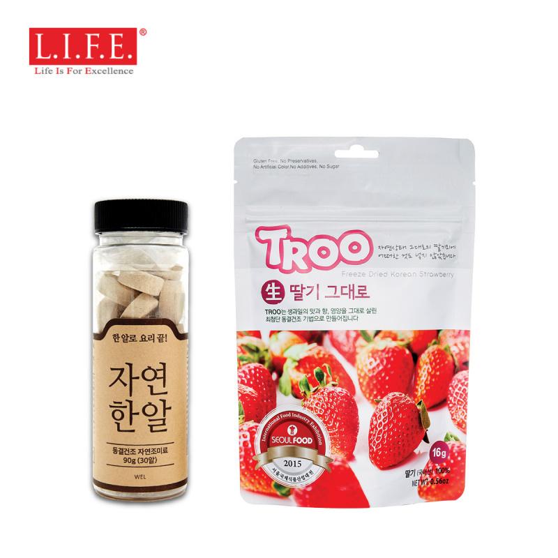自然一丸・得奬・韓國・無味精・海產蔬菜上湯X 1瓶+ 韓國天然冷凍乾果零食(草莓)X 1包