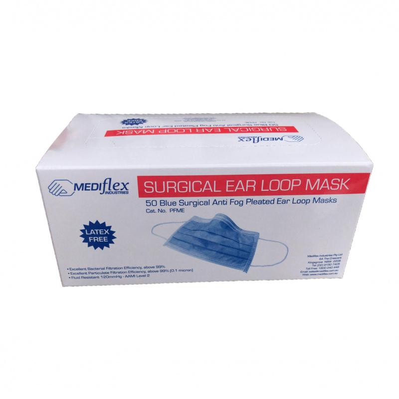 [澳州進口] Mediflex Surgical Face Mask 外科手術口罩 98%過濾 三層防護 有效阻隔肺炎病毒 (50個裝)