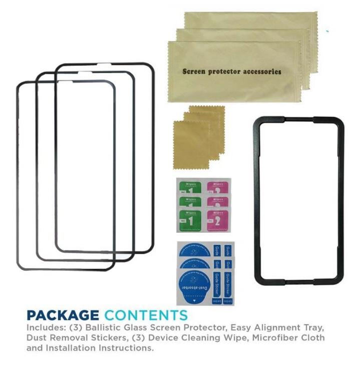 AOE - Apple iPhone 11 Pro Max 保護貼3片裝高清全屏黑邊鋼化玻璃保護貼+貼膜神器