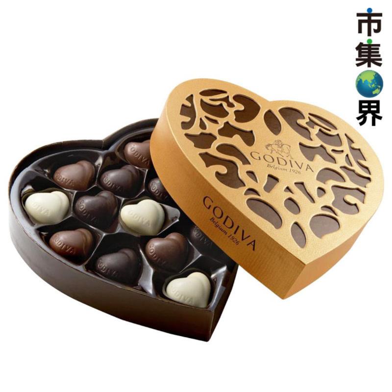 比利時版Godiva 心形雜錦朱古力 配心型雕花禮盒 (14件裝)