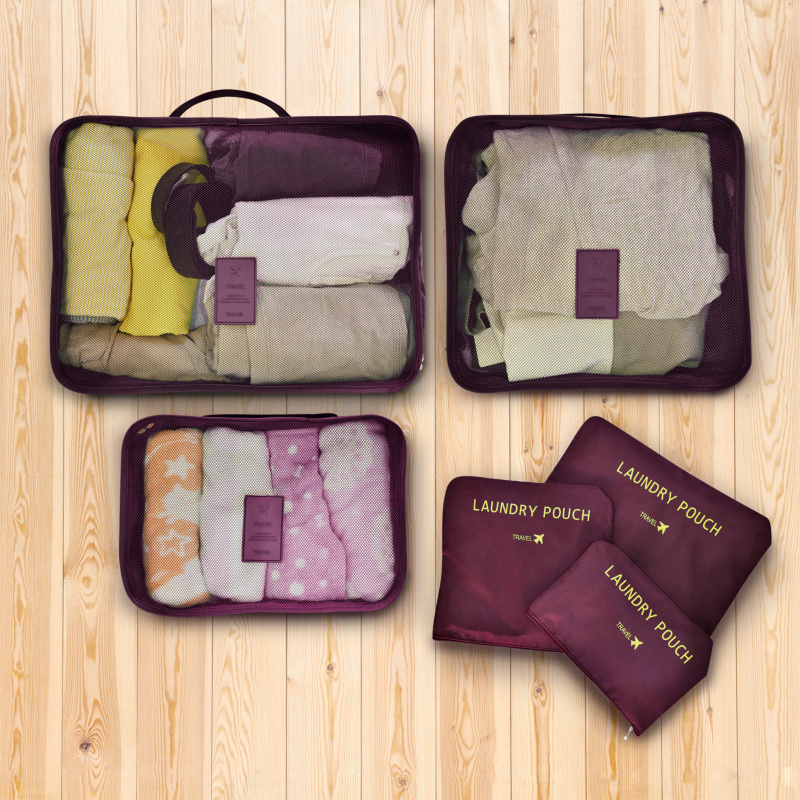 ecHome 旅行收納袋6件裝(紫色) (TSB6DPR)