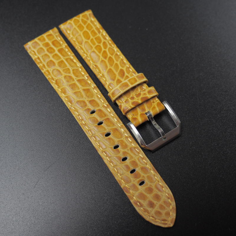 20mm Rolex 蜜糖橙色鱷魚紋牛皮錶帶