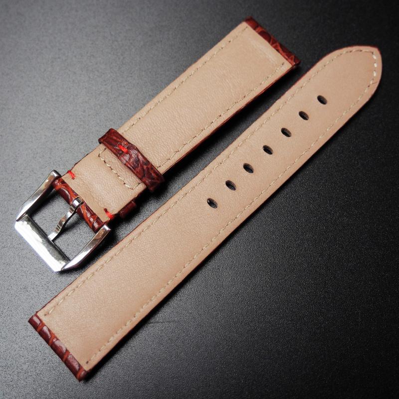 20mm Rolex 褐紅色鱷魚紋牛皮錶帶
