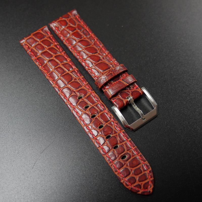 20mm 褐紅色鱷魚紋牛皮錶帶