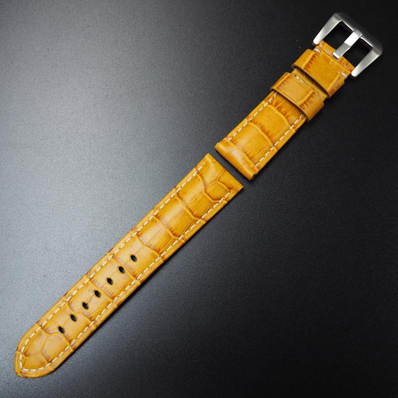 22mm IWC 蜜糖橙色鱷魚紋牛皮錶帶