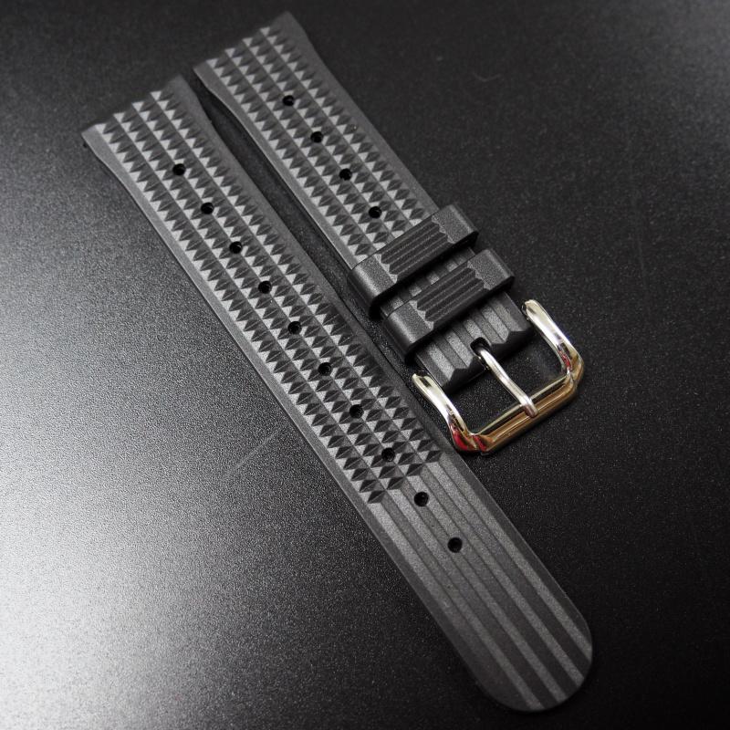 20mm Seiko 黑色優質橡膠錶帶