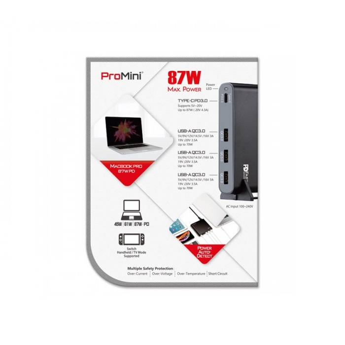 Magic-Pro ProMini Qs87 PD Macbook / Laptop兼容快速充電器 【行貨保養】