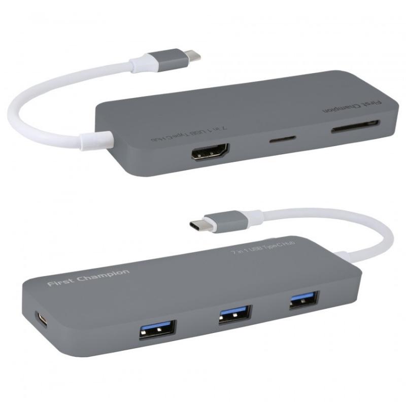 First Champion USB Type-C 集線器 - 7合1 (HDMI, USB, USB-C, Card Reader) 【行貨保養】