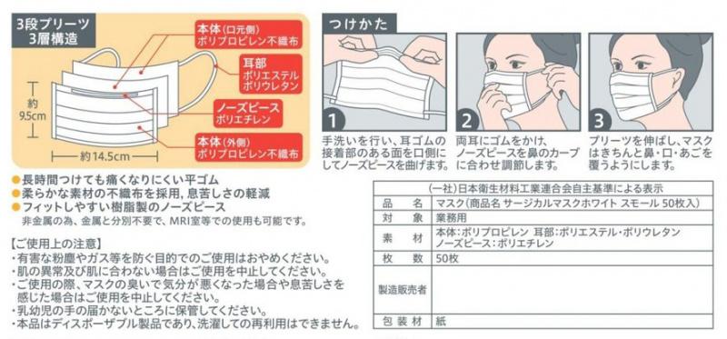 【現貨發售】日本製 白十字 供醫療使用 3層口罩 (50枚入)