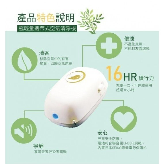 (現貨發售)台灣HELIOPTO 隨身空氣清淨機