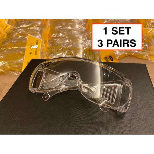 全保護防飛沫眼鏡 [3件裝]