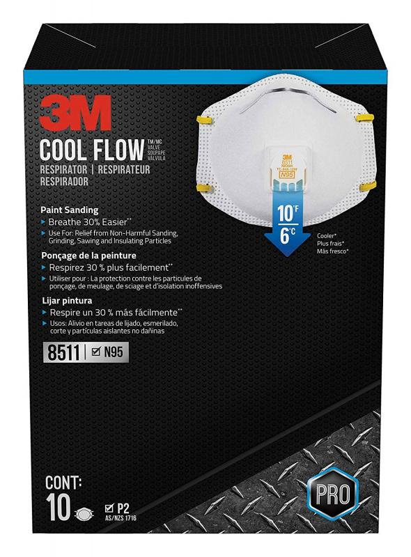 3M 8511 N95冷流量閥口罩 (10-Pack)