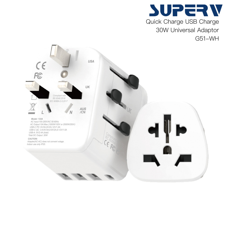 Superv 旅行電源轉換USB-PD 30W 快速充電 G51