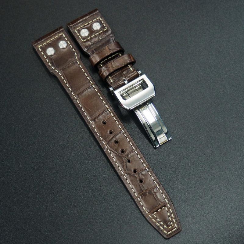 22mm IWC 朱古力棕色鱷魚皮錶帶