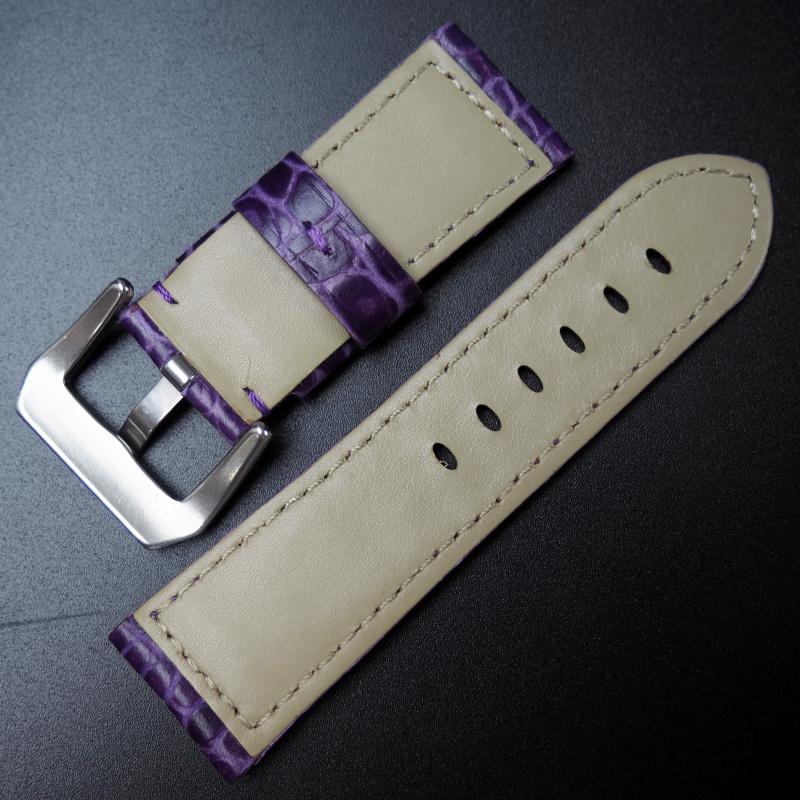 24mm Panerai 紫色鱷魚紋牛皮錶帶 (女裝短帶)