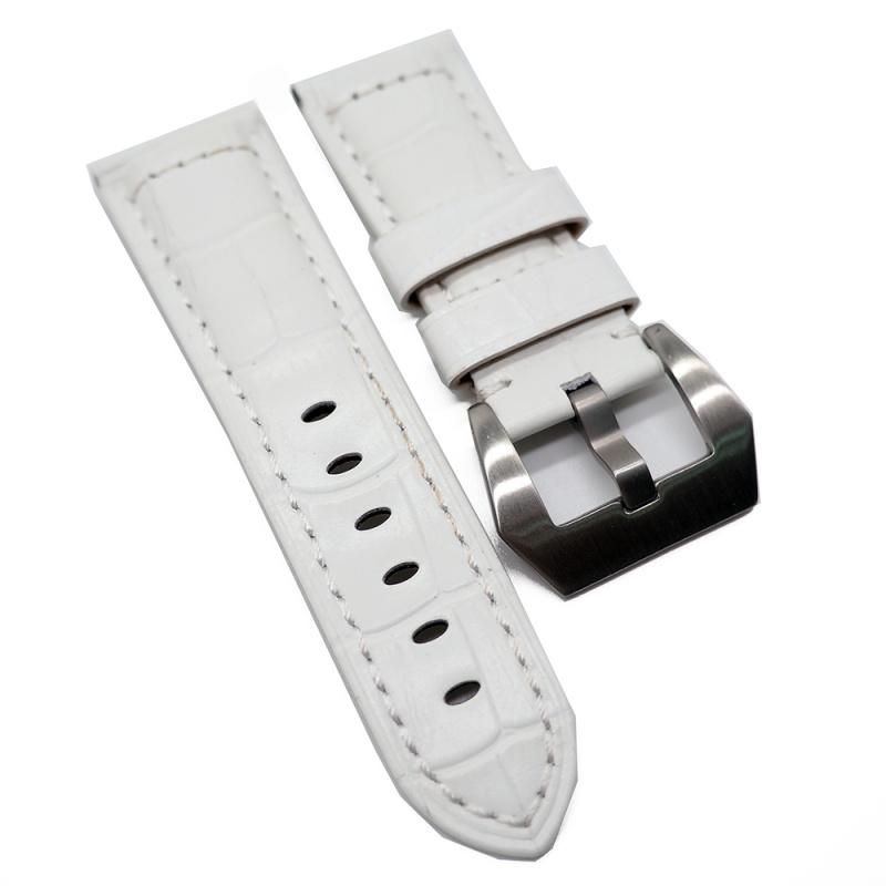 22mm, 24mm Panerai Style 白色鱷魚紋牛皮錶帶 (女裝短帶)