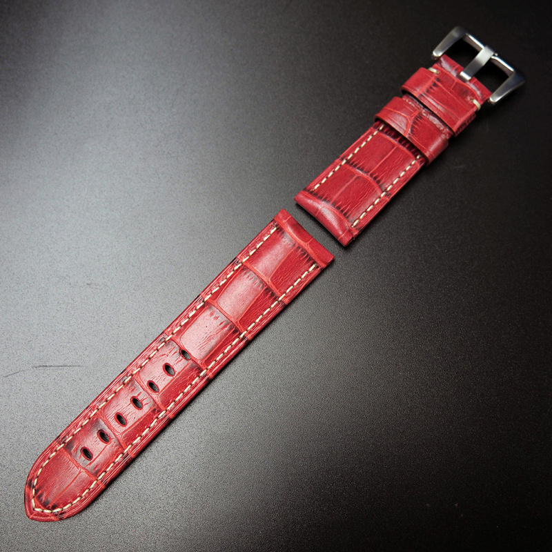24mm Panerai 火紅色牛皮錶帶