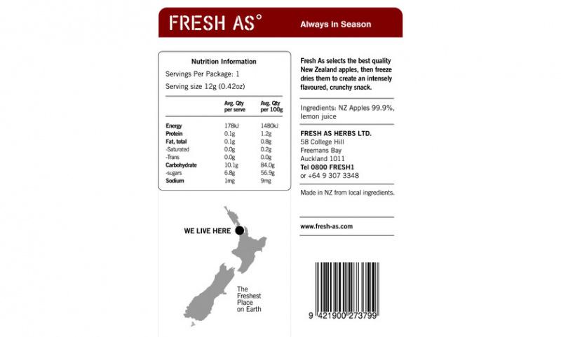 Fresh AS - 紐西蘭天然蘋果凍乾水果片 12g
