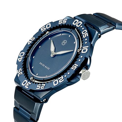 瑞士 NOVE Trident 系列 超薄男士石英潛水錶 (藍色 E009-02)
