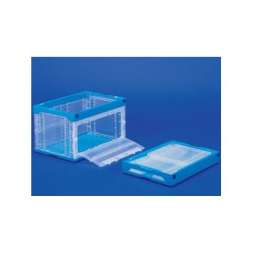 SANKO 日本製耐用可摺疊收納膠箱 51L容量 (長側帶活門) 透明/藍