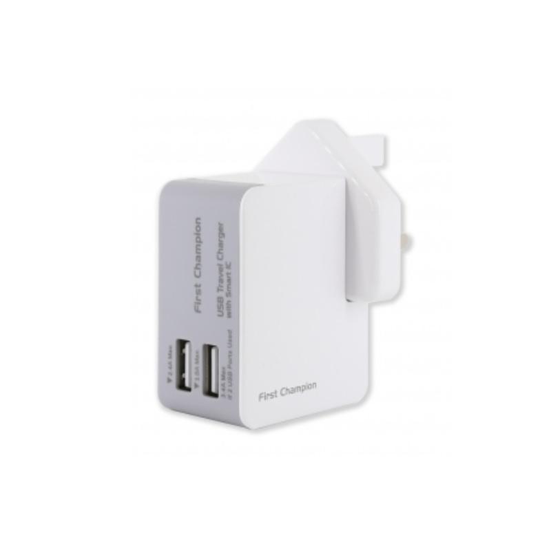 First Champion USB 旅行充電器 UTC203 - 3.4A【行貨保養】