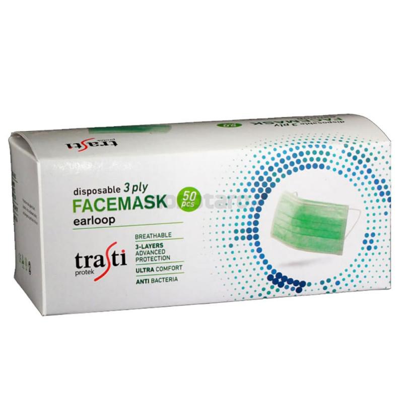 TRASTI FACE MASK 綠色三層外科口罩 (50片裝)