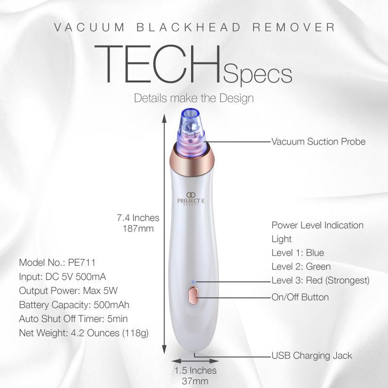 Project E Beauty 吸黑頭粉刺機 | 5個吸頭超強吸力深層清潔毛孔油脂去角質電動吸黑頭機