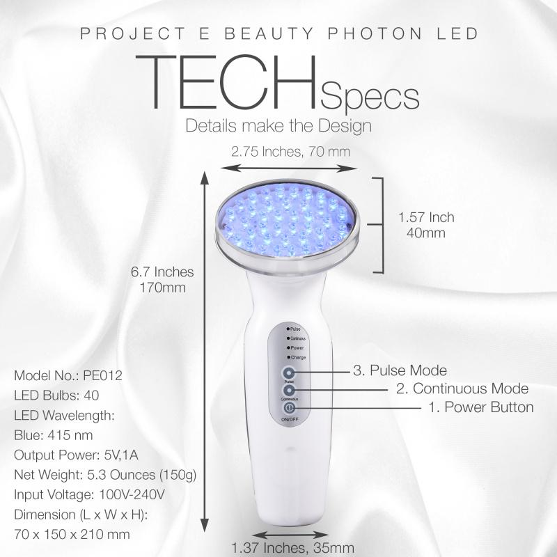 Project EBeauty 藍光暗瘡光療儀 | 415nm藍色光子去暗瘡印改善炎症敏感肌抑制細菌再生光療儀