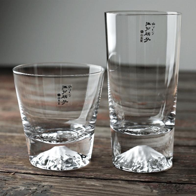 日本入口 - 日本製【江戶硝子】田島硝子 富士山玻璃杯 (工藝原木禮盒) 400ml【市集世界 - 日本市集】